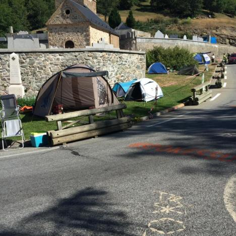 In the leadup to Le Tour going through, every bit of available space is taken for camping. Even the local cemetary.