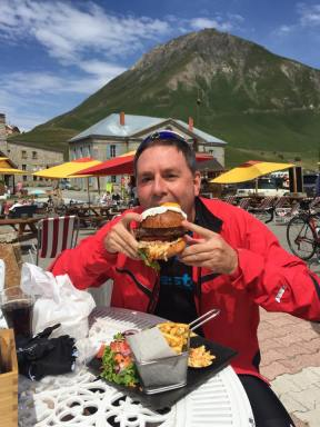 A hard earned hunger deserves a big burger. and the best big burgers are at the Col du Lautaret.