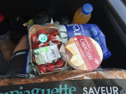 My deconstructed cheese and tomato picnic I ate on the bus.