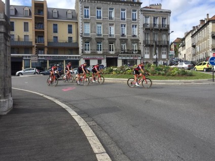 A group of Le Tour riders heading back to their hotel at the end of another tough day.
